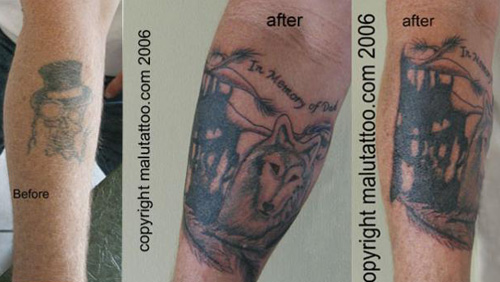 tattoo coverups. Tattoo Cover-Up Wolf