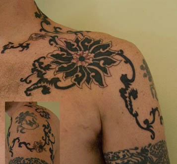 Tribal Tattoo Flowers on Chest